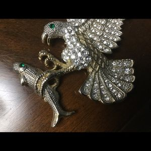 Eagle with fish in talons brooch